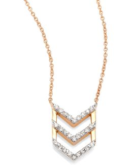 Chevron Diamond & 14k Rose Gold Pendant Necklace