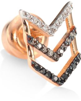 Trio Chevron Diamond & 14k Rose Gold Single Stud Earring