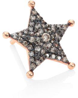 Sheriff Star Diamond & 14k Rose Gold Single Stud Earring