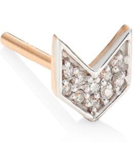 Chevron Diamond & 14k Rose Gold Single Stud Earring