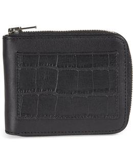 Zipper Leather Bifold Wallet