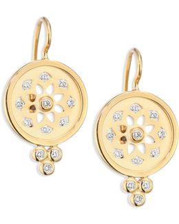 Mandala Diamond & 18k Yellow Gold Cutout Earrings