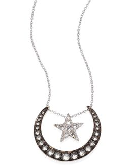 Love Diamonds & 18k White Gold Lunar Pendant Necklace