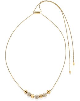 Brilliance Pave Beaded Necklace/rose Goldtone