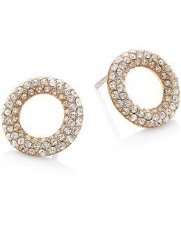 Brilliance Pave Crystal Stud Earrings/silvertone