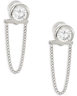 Brilliance Crystal & Chain Front Back Stud Earrings/silvertone