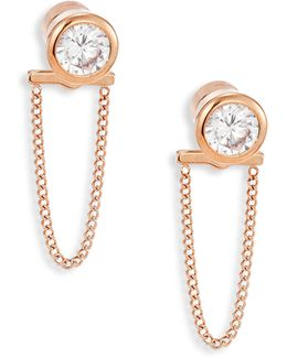 Brilliance Crystal & Chain Front Back Stud Earrings/rose Goldtone