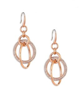 Brilliance Crystal Drop Earrings/rose Goldtone