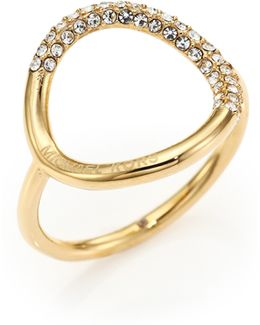 Pave Circle Ring/goldtone