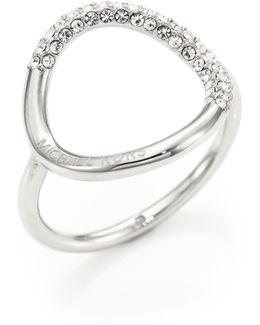 Pave Circle Ring/silvertone