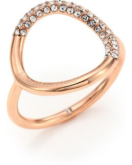 Pave Circle Ring/rose Goldtone
