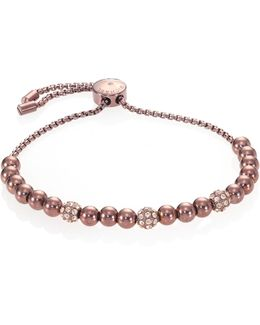 Brilliance Pave Beaded Slide Bracelet/sabletone