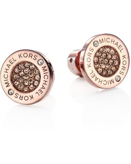 Pave Crystal Stud Earrings/rose Goldtone