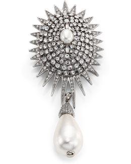 Bridal Star Crystal & Faux Pearl Brooch