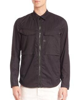 Solid Zipped Button-down Shirt
