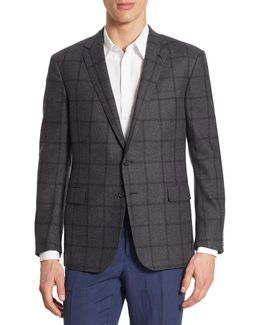 Purple Label Slim Fit Windowpane Wool Sportcoat