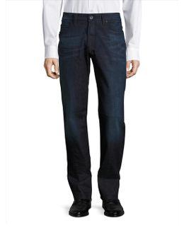 Whiskered Straight Leg Jeans