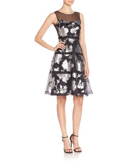 Sleeveless Tiered Metallic Floral Cocktail Dress
