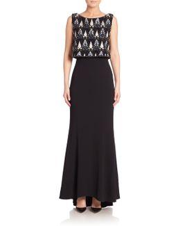 Platinum Beaded Sleeveless Gown