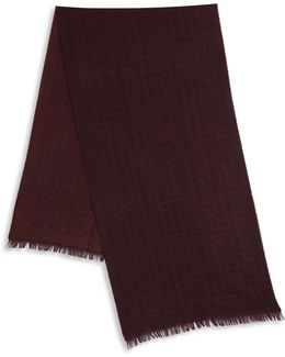 Bordeaux Gancio Printed Wool Blend Scarf