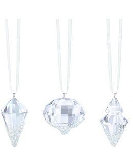 Crystal Studded Geometric Christmas Ornaments- Set Of 3