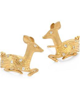 Deer Diamond & 18k Yellow Gold Stud Earrings
