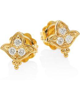 Lotus Diamond & 18k Yellow Gold Stud Earrings