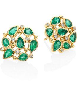 Pear Cluster Diamond, Emerald & 18k Yellow Gold Stud Earrings