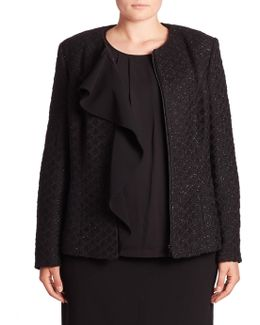 Metallic Tweed Ruffle Jacket