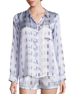 Arctic Crescent Silk Pajama Top