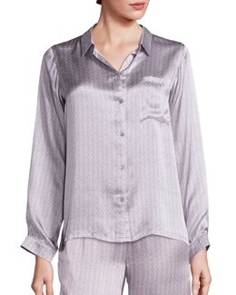 Ash Tile Silk Pajama Top