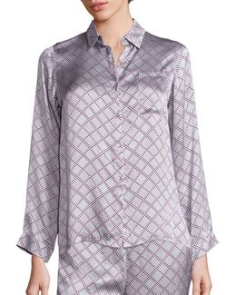 Check Silk Modern Pajama Top