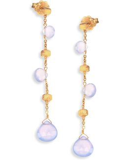 Paradise Chalcedony & 18k Yellow Gold Long Drop Earrings