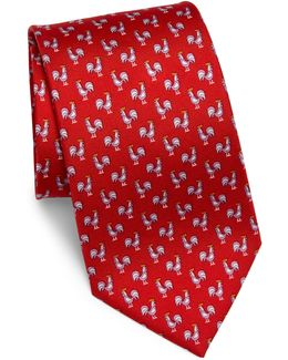 Rooster Print Silk Tie