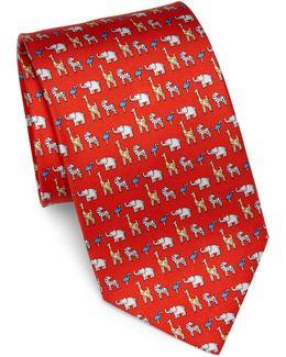 Animal Print Silk Tie