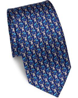 Bear In Parachute Printed Silk Tie