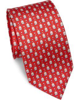 Lion Patterned Silk Tie