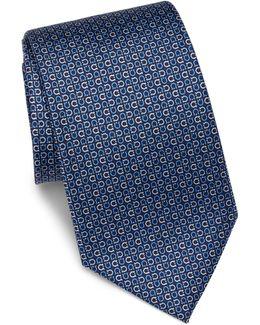 Geometric Gancini Printed Silk Tie