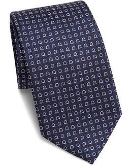 Geometric Gancini Print Silk Tie