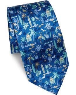 Beach Scene Silk Tie