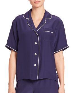 Silk Corita Short-sleeve Pajama Shirt