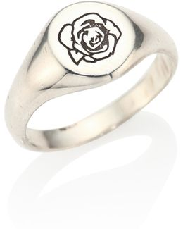 0.925 Silver Engraved Signet Rose Ring