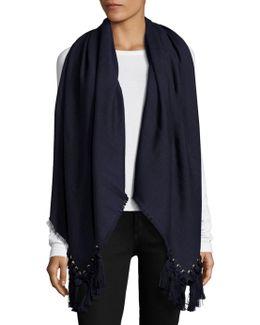 Pompon Wool, Silk & Cashmere Scarf