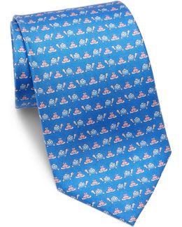 Turtle & Frog Silk Tie