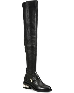 Casati Pearl-heel Leather Knee-high Boots