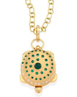 Turtle Diamond, Emerald & 18k Yellow Gold Locket