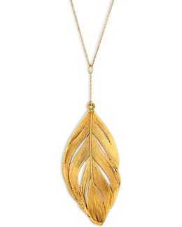 Swan Feather 18k Yellow Gold Pendant Necklace