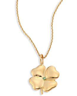 Clover Tsavorite & 18k Yellow Gold Pendant
