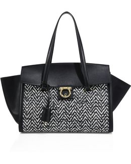 Woven Chevron Leather Tote