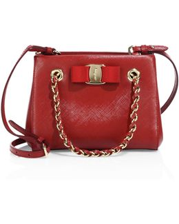 Mini Melike Saffiano Leather Chain Tote